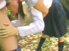Japanese Schoolgirl Blowjob in the park