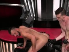 Mature gay fisting xxx Aiden Woods is on his back and