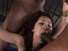 Asian fortune teller had to swallow cum from big black cocks
