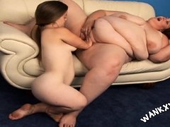 Cute midget gal in lesbo action with BBW