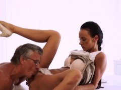 French old man Finally she's got her boss dick