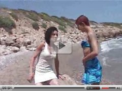 Steffi and Katia on the beach licking  FM14