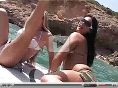 Girls get so hot with each other on a beautiful beach  FM14