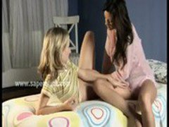 Cuties having lesbian sex in bedroom