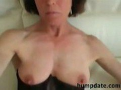 Hot mature wife gives blowjob and masturbates