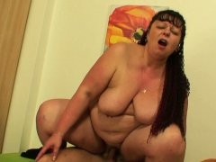 Chubby big boobs mother-inl-law rides his cock
