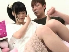 Stunning japanese hottie gets her hairless pussy fucked hard