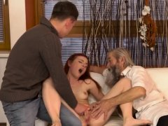 Hd old milf Vanessa, her bf and his father wanted to