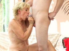 Fucked old lady creampied