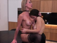 Hot MILF and her hairy daughter having some fun