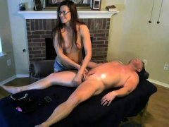 Brunette handjob amateur pulls for cum with lucky guy