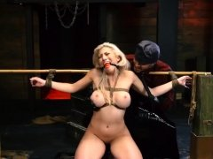Amateur couple bondage and strip game Big-breasted blonde
