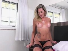 Gorgeoys Tgirl Bella gets fucked hard by 2 hard cocks