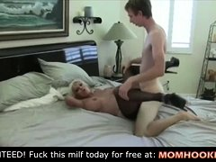 Mature bimbo fucks his son's friend!
