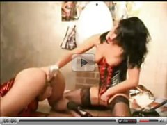PVC and latex-clad lesbian hotties toying on each other