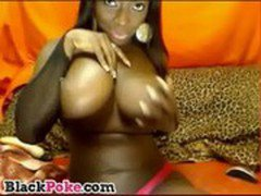 Busty black goddess toying her horny pussy