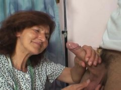 70 years old woman enjoys sucking and riding his young cock