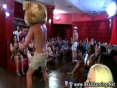Bear and hunter stripper at a party