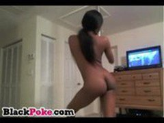 Sexy black teen dancing and teasing on webcam