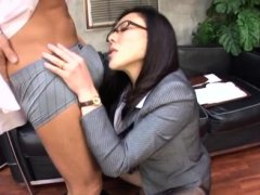 Asian office chick leaves her colleagues to drill her hard