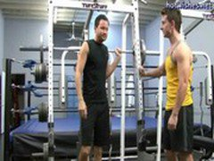 Two naughty gays having anal sex at the gym