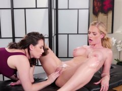 Two big boobs MILF lesbians massage and pussy licking