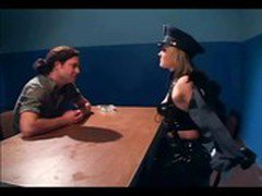 Naughty female cop fucking in latex lingerie