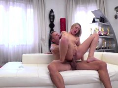 Cute blonde gets fingered and fucked by Roccos big cock