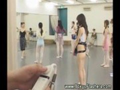 Vibrator covered asian in ballet class