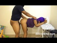 Ebony Exposed Caught WIth No Panties Doing Laundry