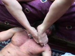 Man gets giant breasts on his face in smothering scenes