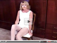 blonde mature masturbates in white pantyhose