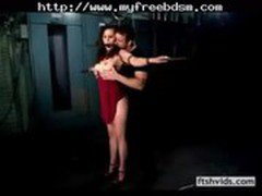 Woman In Red Dress Spanked And Pleasured bdsm bondage slave femdom domination