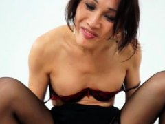 Transgender asian beauty creampied in closeup
