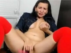 horny milf and her first time with lovense dildo on cam