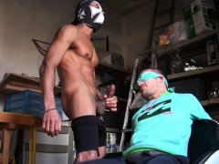 Blindfold stud face-fucked and barebacked by hot curved dick