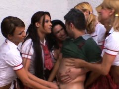 HOT shemale SCHOOLGIRLS slamming TEACHER