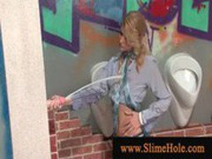 Blond glam loves sucking gloryhole cock