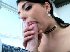 Dressed in a short plaid skirt, Gina Valentina's desire for
