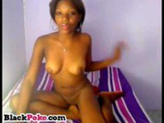 Beautiful black babe with wet pussy teasing