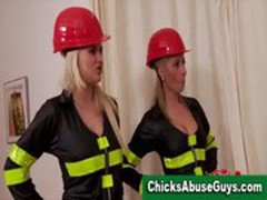 Firefighter femdom girls punish young man