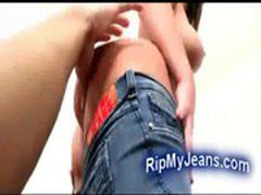Hot round ass girl in jeans fucked hard by horny stud