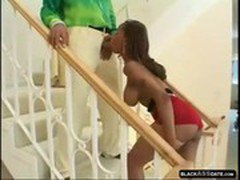 Beautiful Black MILF fucks on the stairs