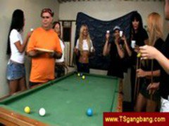 Horny group of trannies playing pool gets bored of the game