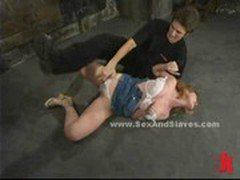 Redhead slut fighting in bondage sex and submission with pervert in fetish video