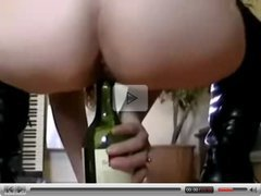 my wife eve pussy and anal play with a bottle of wine