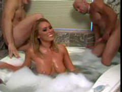 Busty blonde bubble bath group cocksuck!