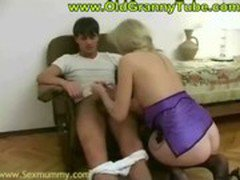 Oldy aunt seducing younger boy