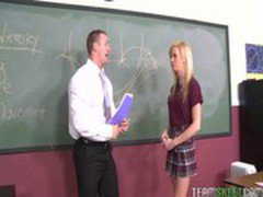 Teen with braces Kaley Hilton gets her pussy fucked hard in the classroom