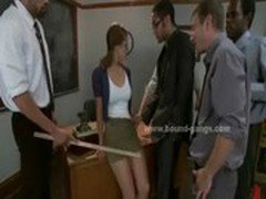 Young college teacher dominated in rough bdsm gang bang in awesome video